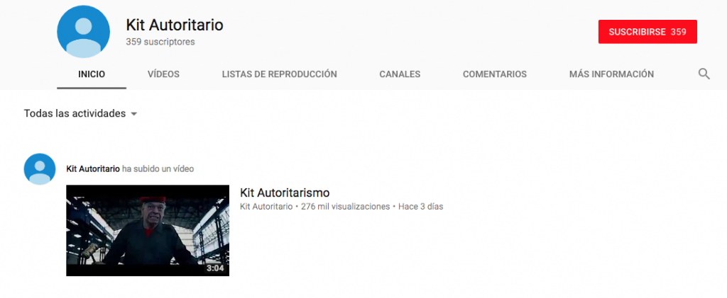 Perfil de Youtube del Kit del Autoritarismo