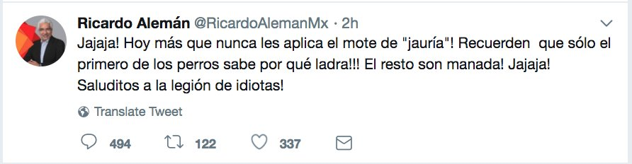 Ricardo Alemán Tuit Meme Asesinar AMLO