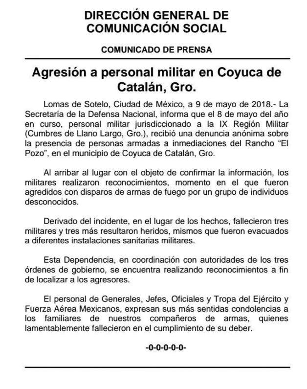 Comunicado de Sedena sobre ataque en Coyuca
