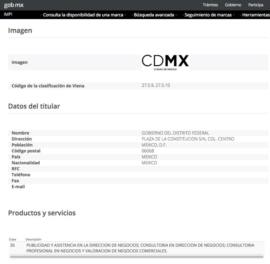 Registro de marca de CDMX en IMPI