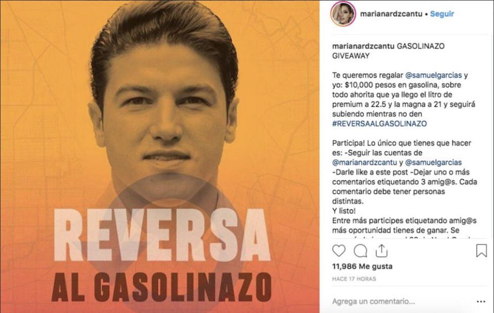 Redes Mariana Rodríguez Cantú, novia de Samuel García publicaron por un par de horas la dinámica del senador