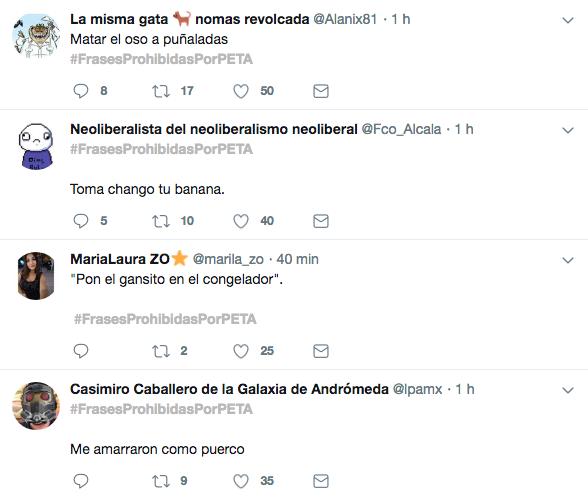Burlas en Twitter a Peta y sus frases