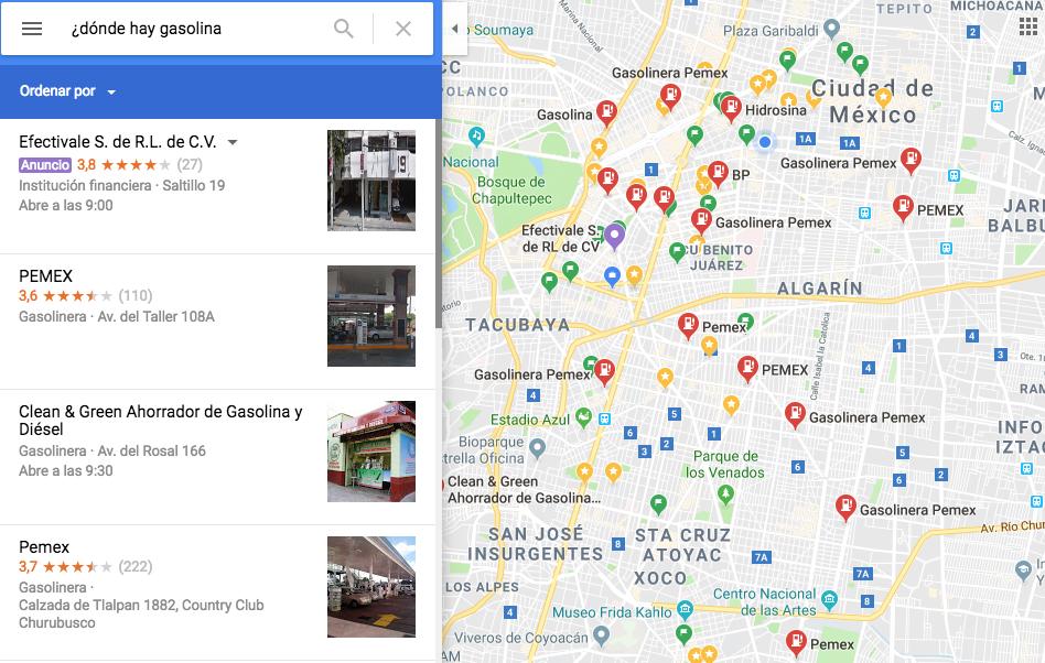 Google te ayuda a encontrar qué gasolineras tienen combustible