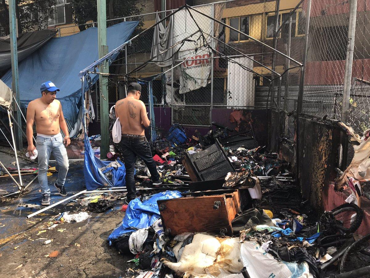 Incendio en campamento de damnificados del Multifamiliar Tlalpan