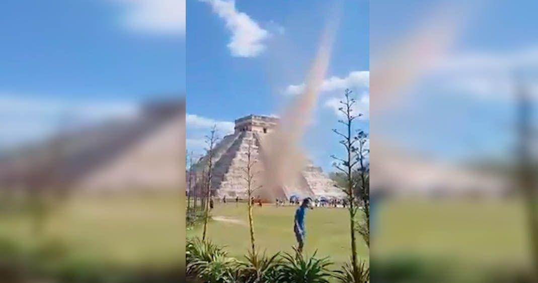 Torbellino en Chichén-Itzá impresiona a turistas