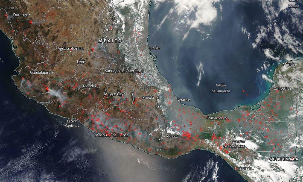 Incendio forestal observado por la NASA