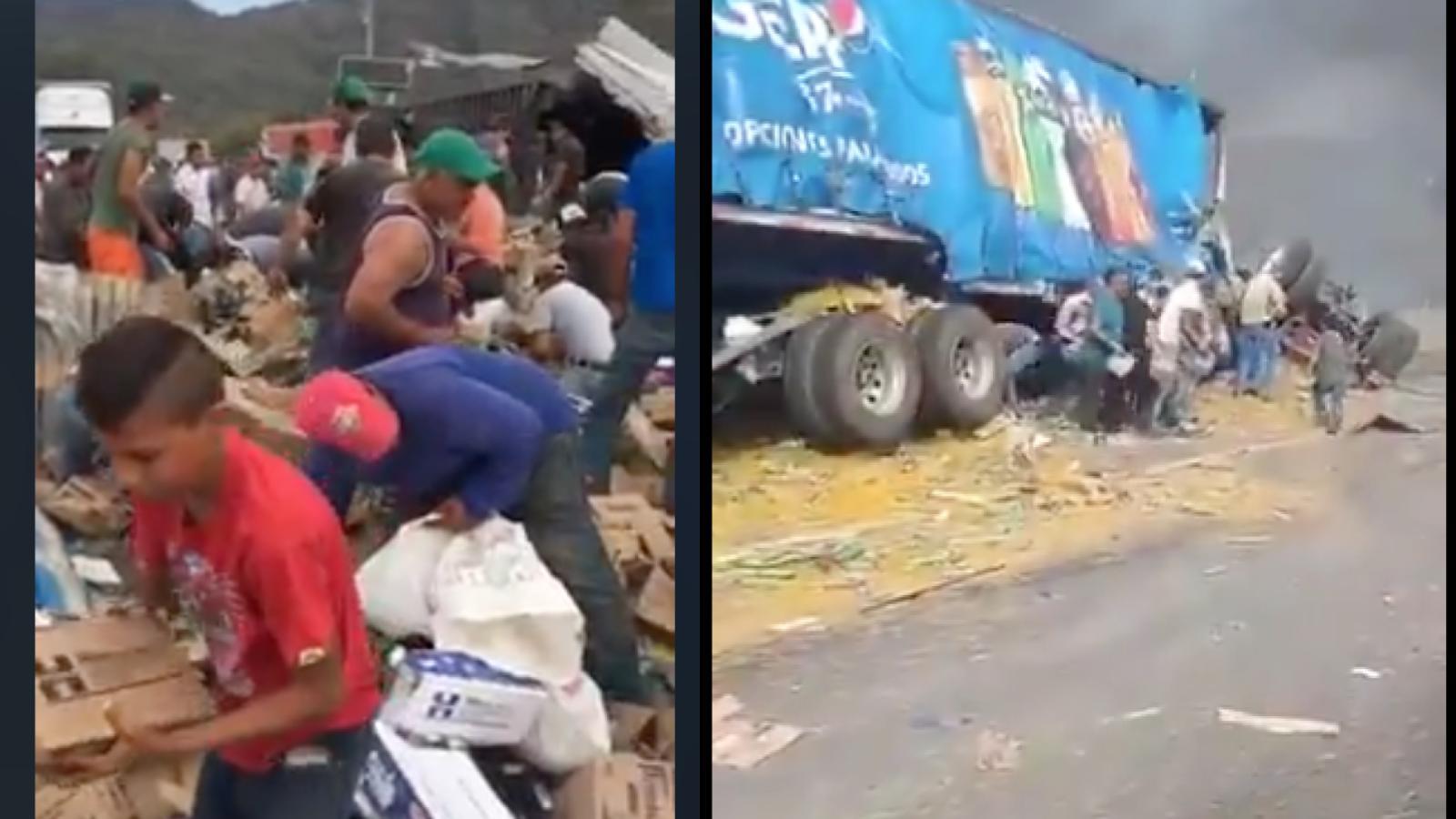 Saquean camión mientras chofer moría calcinado