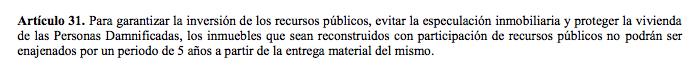 Artículo 31 de la Ley de Reconstrucción donde prohibe venta y especulación de inmuebles restaurados